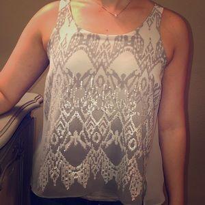 Women's XS Express Top. 2 toned gray & sequins.